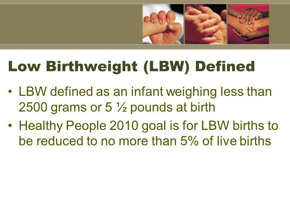 Low Birthweight (LBW) Defined LBW defined as an infant weighing less than 2500 grams or 5 ½ pounds at birth Healthy People 2010 goal is for LBW births