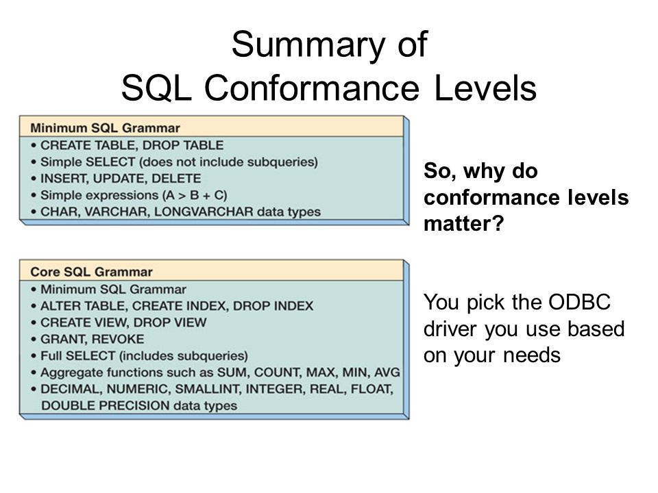 Summary of SQL Conformance Levels So, why do conformance levels matter? You pick the ODBC driver you use based on your needs