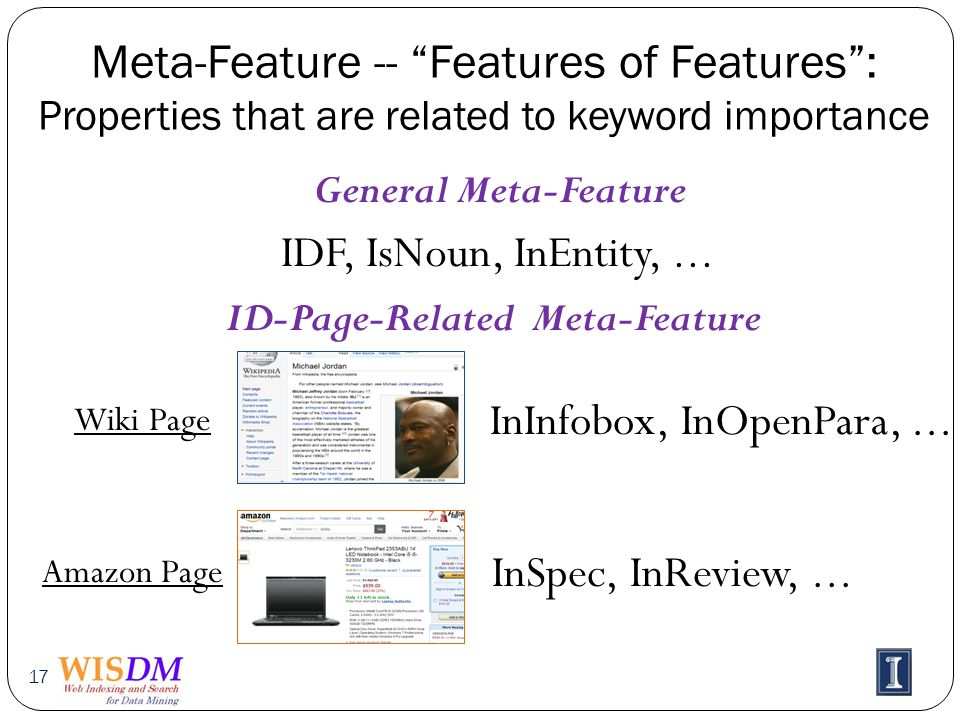 Meta-Feature -- Features of Features: Properties that are related to keyword importance 17 General Meta-Feature IDF, IsNoun, InEntity,...