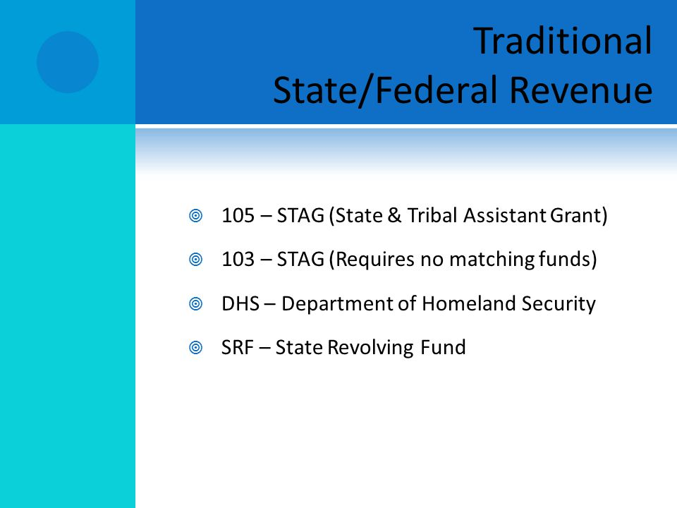 105 – STAG (State & Tribal Assistant Grant) 103 – STAG (Requires no matching funds) DHS – Department of Homeland Security SRF – State Revolving Fund T