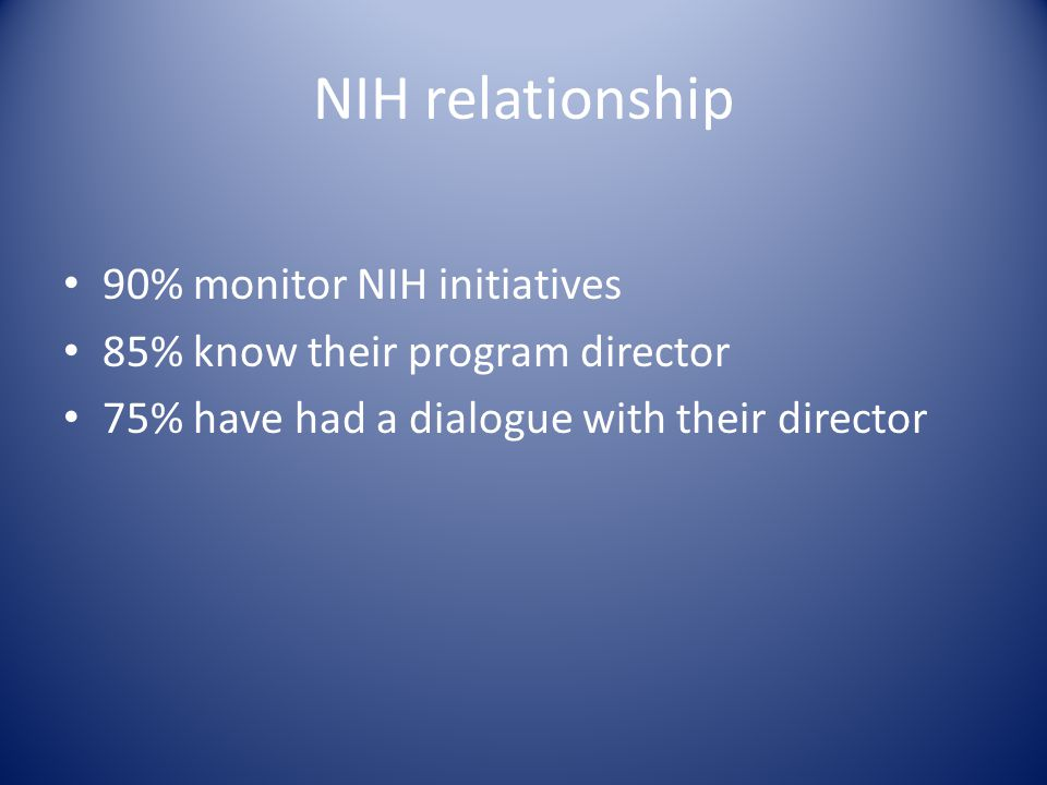 NIH relationship 90% monitor NIH initiatives 85% know their program director 75% have had a dialogue with their director