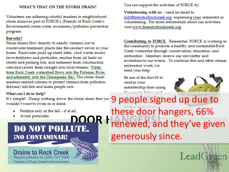 DOOR HANGERS! 9 people signed up due to these door hangers, 66% renewed, and theyve given generously since.