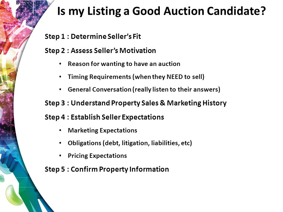 Day of Auction Professionally branding your auction is one of the best opportunities to create differentiated customer value through an integrated process Bid cards Signage PowerPoint (PC) or Keynote (Mac) Pens Folders Attire Corporate collateral Leave a lasting impression Bidders may be interviewing you for a sale of their property without you knowing
