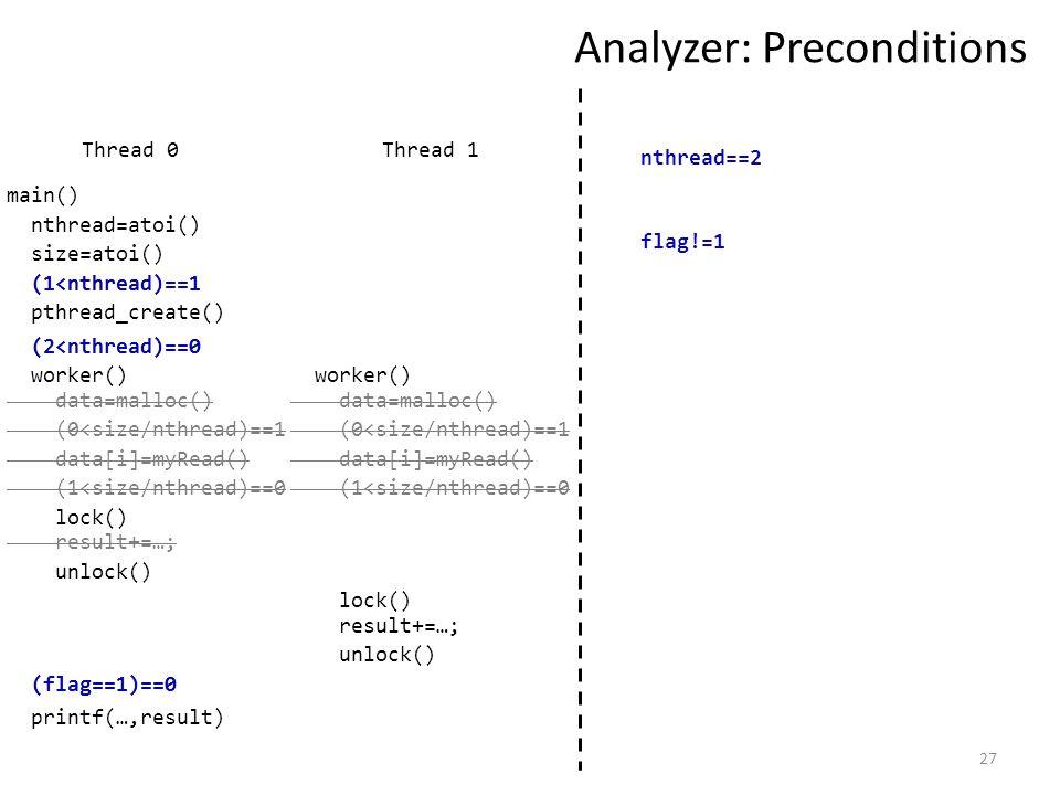 27 Analyzer: Preconditions Thread 1 nthread=atoi() size=atoi() (1<nthread)==1 pthread_create() worker() data=malloc() (0<size/nthread)==1 data[i]=myRead() (1<size/nthread)==0 (flag==1)==0 (2<nthread)==0 Thread 0 lock() result+=…; unlock() data=malloc() (0<size/nthread)==1 data[i]=myRead() (1<size/nthread)==0 lock() result+=…; unlock() main() worker() nthread==2 (1<nthread)==1 (2<nthread)==0 (flag==1)==0 flag!=1 printf(…,result)