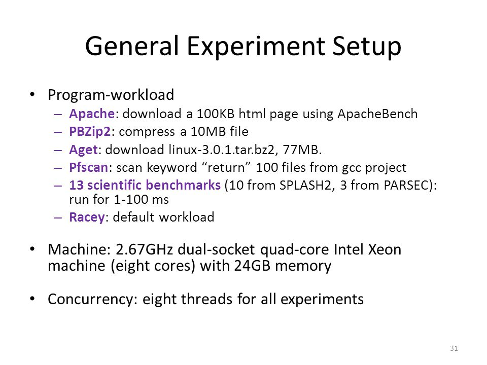 General Experiment Setup Program-workload – Apache: download a 100KB html page using ApacheBench – PBZip2: compress a 10MB file – Aget: download linux