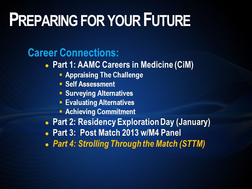 Career Connections: Part 1: AAMC Careers in Medicine (CiM) Appraising The Challenge Self Assessment Surveying Alternatives Evaluating Alternatives Achieving Commitment Part 2: Residency Exploration Day (January) Part 3: Post Match 2013 w/M4 Panel Part 4: Strolling Through the Match (STTM) P REPARING FOR YOUR F UTURE