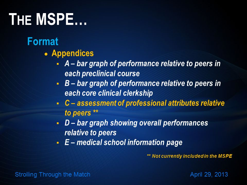 Format Appendices A – bar graph of performance relative to peers in each preclinical course B – bar graph of performance relative to peers in each core clinical clerkship C – assessment of professional attributes relative to peers ** D – bar graph showing overall performances relative to peers E – medical school information page T HE MSPE… ** Not currently included in the MSPE Strolling Through the MatchApril 29, 2013