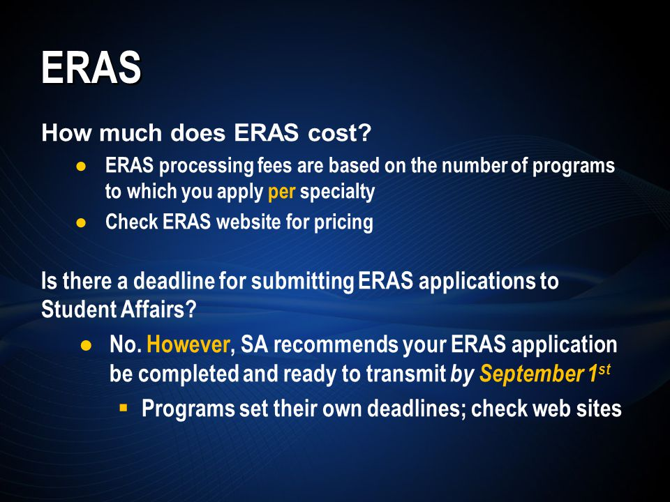ERAS How much does ERAS cost.