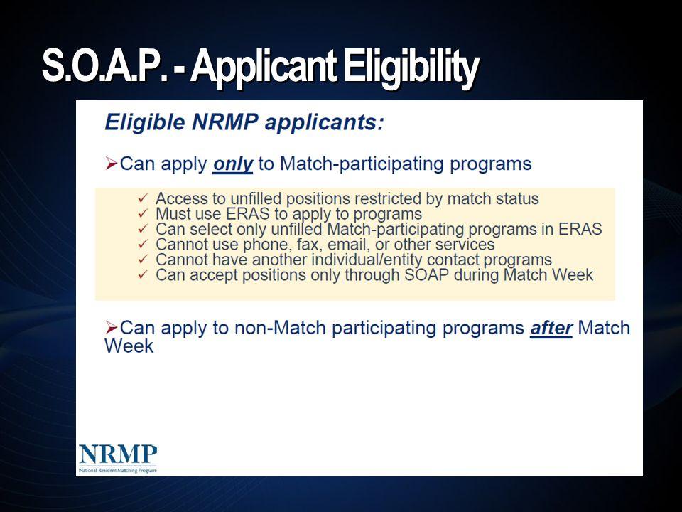 S.O.A.P. - Applicant Eligibility
