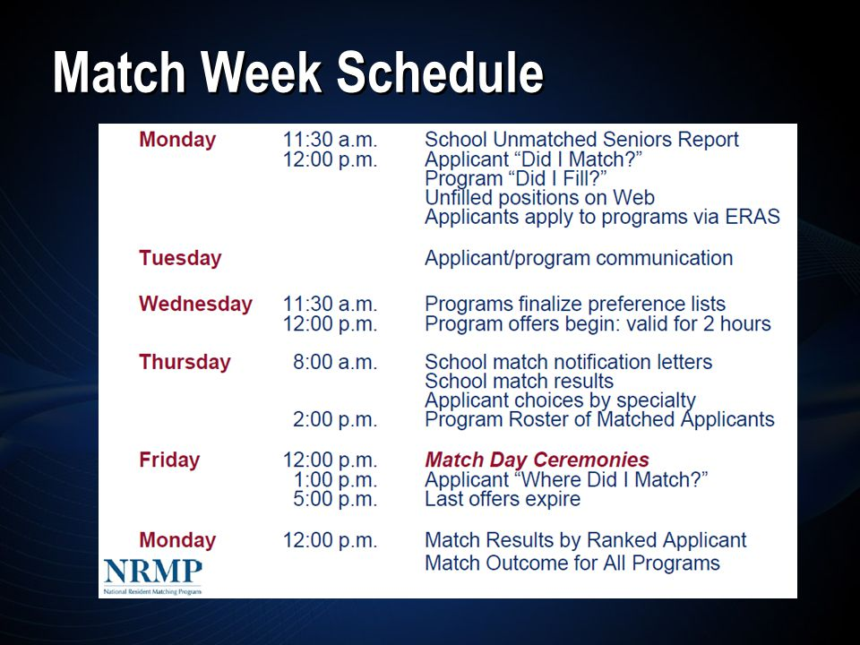 Match Week Schedule