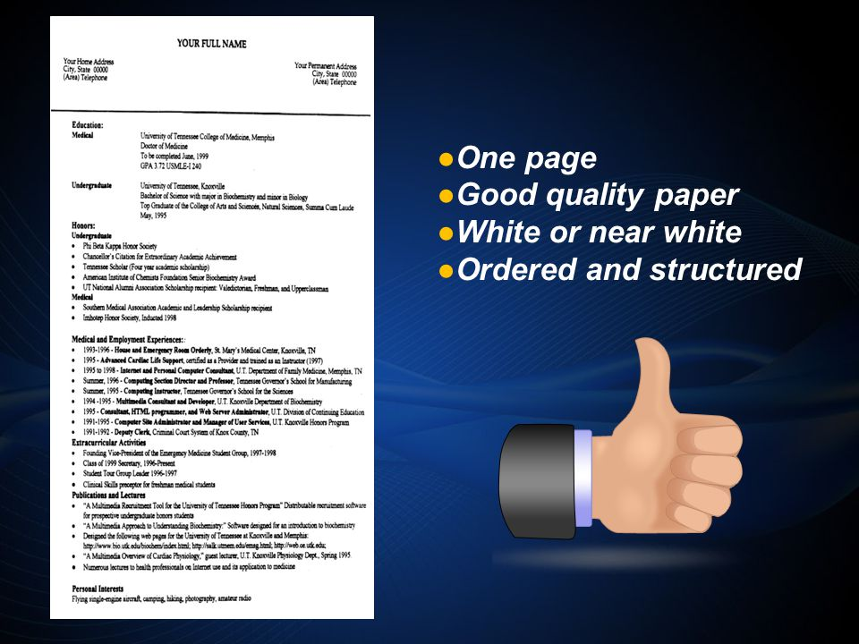 One page Good quality paper White or near white Ordered and structured