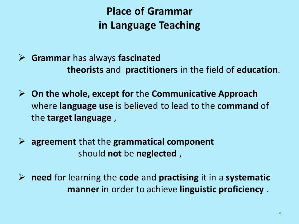 Place of Grammar in Language Teaching Grammar has always fascinated theorists and practitioners in the field of education.