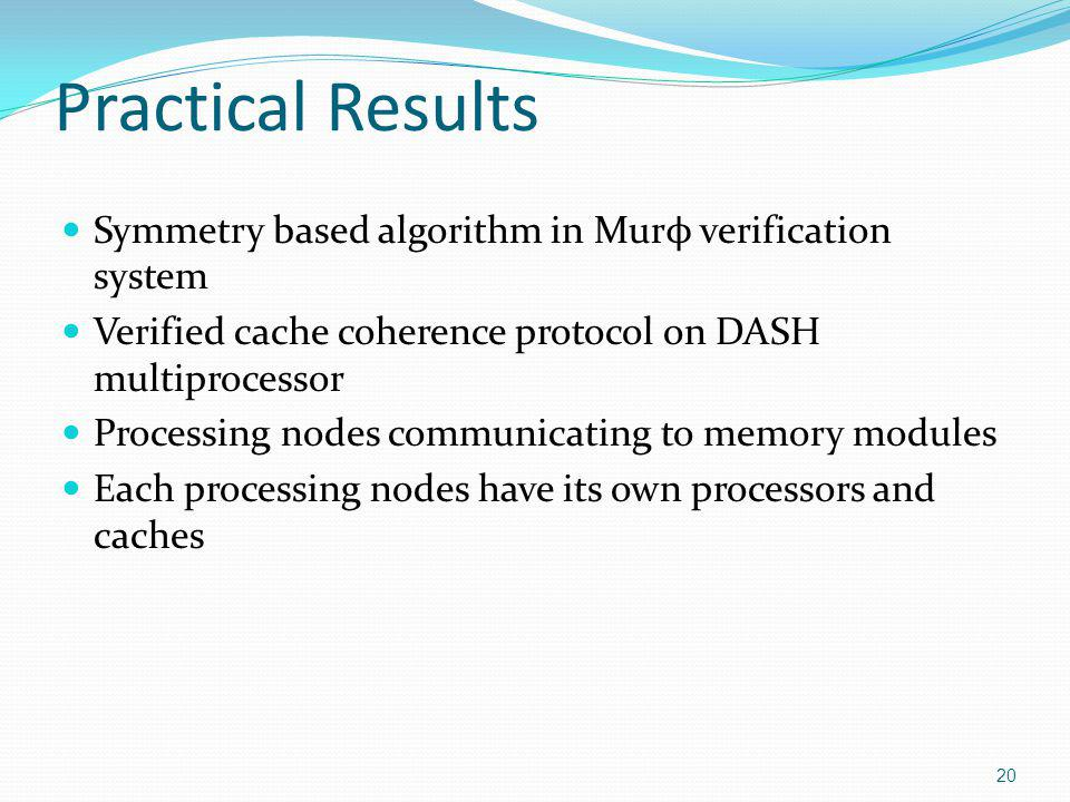 Practical Results Symmetry based algorithm in Mur ϕ verification system Verified cache coherence protocol on DASH multiprocessor Processing nodes comm