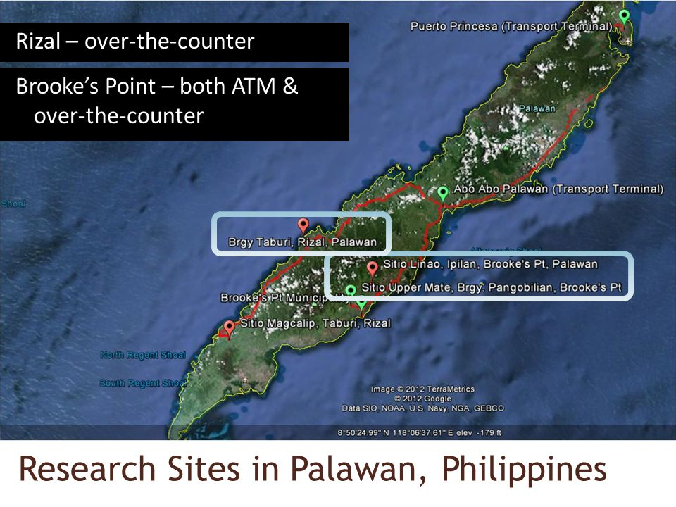 Research Sites in Palawan, Philippines Rizal – over-the-counter Brookes Point – both ATM & over-the-counter