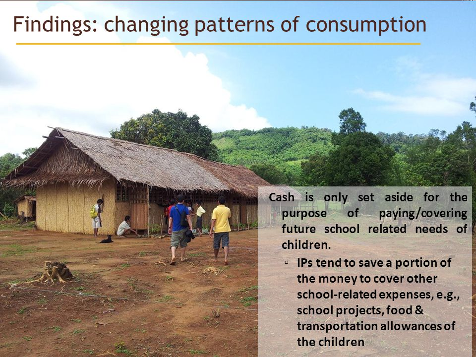 Findings: changing patterns of consumption Cash is only set aside for the purpose of paying/covering future school related needs of children.