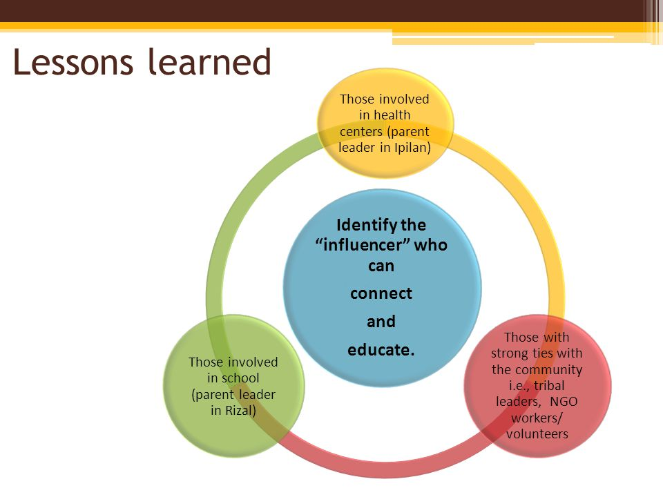 Lessons learned Identify the influencer who can connect and educate.