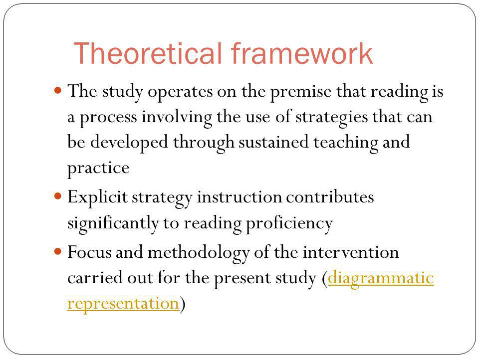 Theoretical framework The study operates on the premise that reading is a process involving the use of strategies that can be developed through sustained teaching and practice Explicit strategy instruction contributes significantly to reading proficiency Focus and methodology of the intervention carried out for the present study (diagrammatic representation)diagrammatic representation