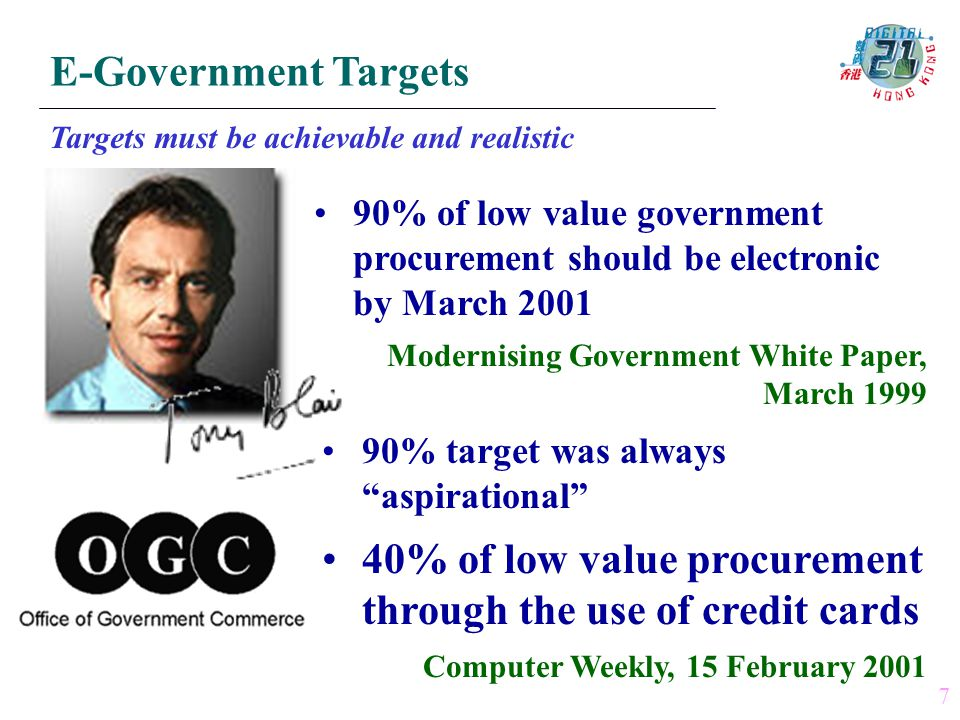 Targets must be achievable and realistic 90% of low value government procurement should be electronic by March 2001 Modernising Government White Paper, March 1999 90% target was always aspirational 40% of low value procurement through the use of credit cards Computer Weekly, 15 February 2001 7