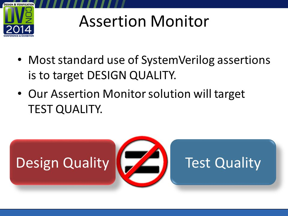 Assertion Monitor Most standard use of SystemVerilog assertions is to target DESIGN QUALITY.