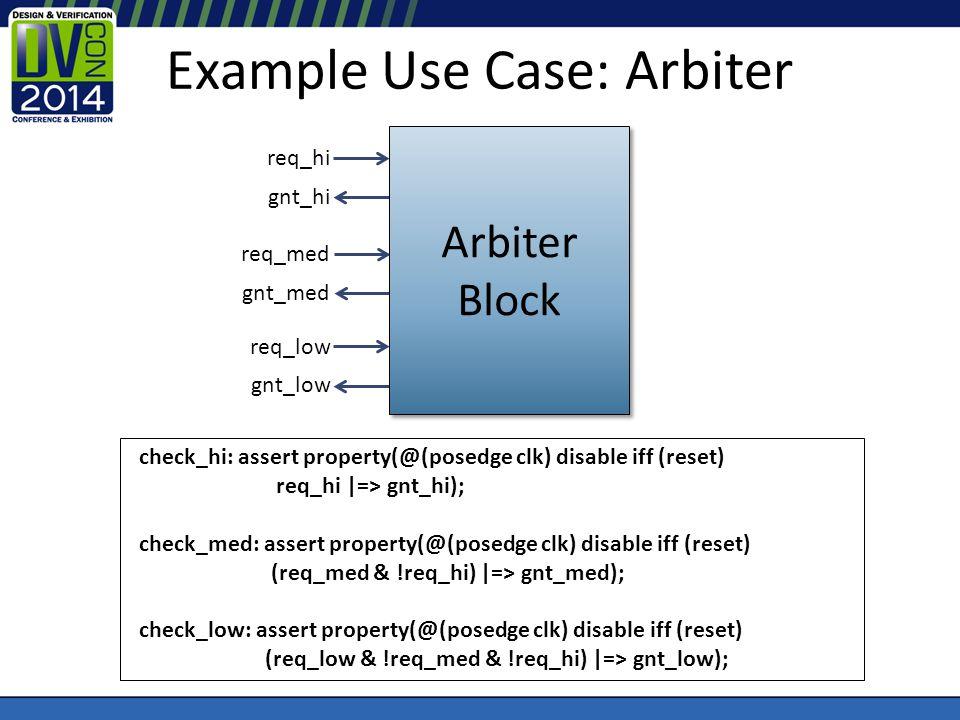 Example Use Case: Arbiter req_hi gnt_hi req_med gnt_med req_low gnt_low check_hi: assert property(@(posedge clk) disable iff (reset) req_hi |=> gnt_hi