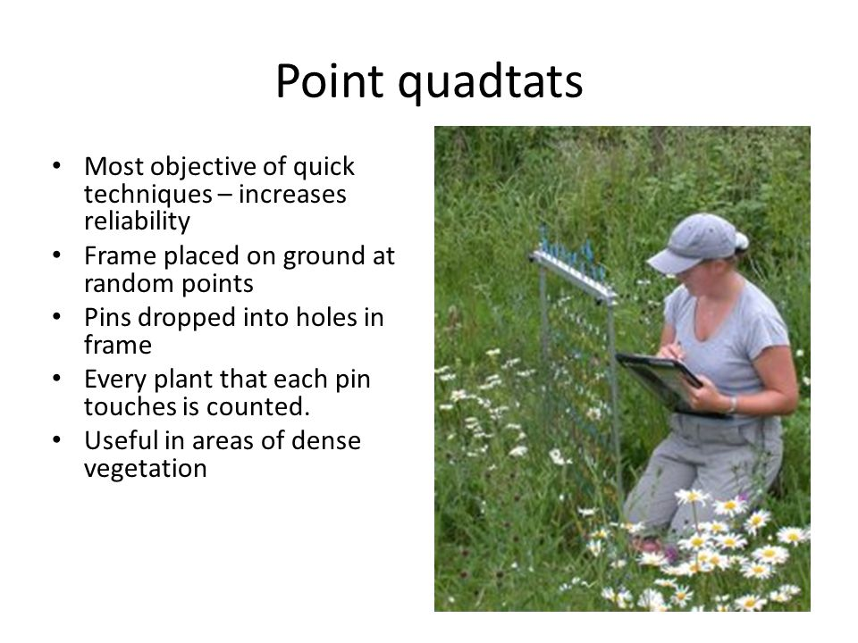Point quadtats Most objective of quick techniques – increases reliability Frame placed on ground at random points Pins dropped into holes in frame Every plant that each pin touches is counted.