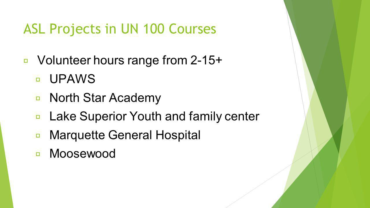 ASL Projects in UN 100 Courses Volunteer hours range from 2-15+ UPAWS North Star Academy Lake Superior Youth and family center Marquette General Hospital Moosewood