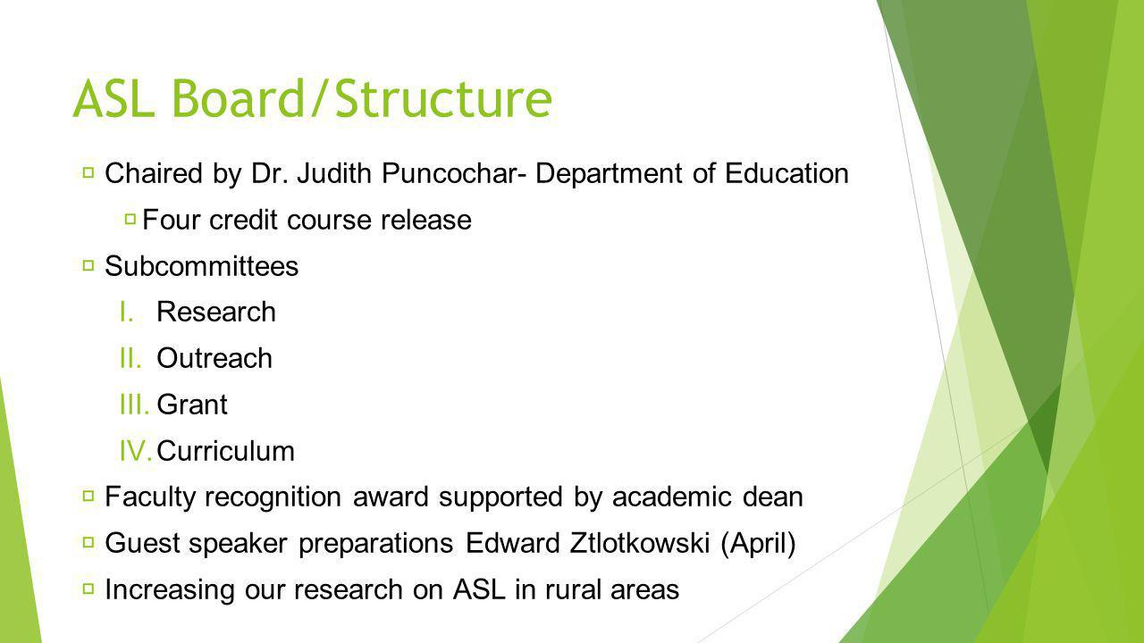 ASL Board/Structure Chaired by Dr.