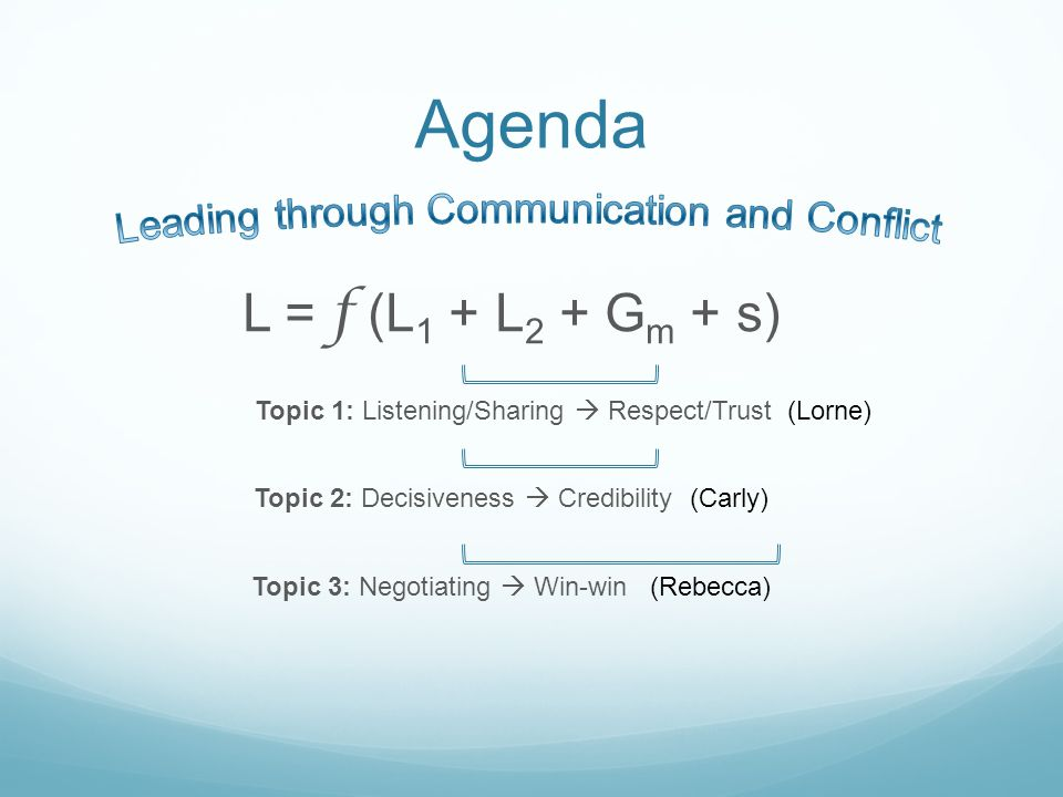 Agenda L = f (L 1 + L 2 + G m + s) Topic 1: Listening/Sharing Respect/Trust (Lorne) Topic 2: Decisiveness Credibility (Carly) Topic 3: Negotiating Win