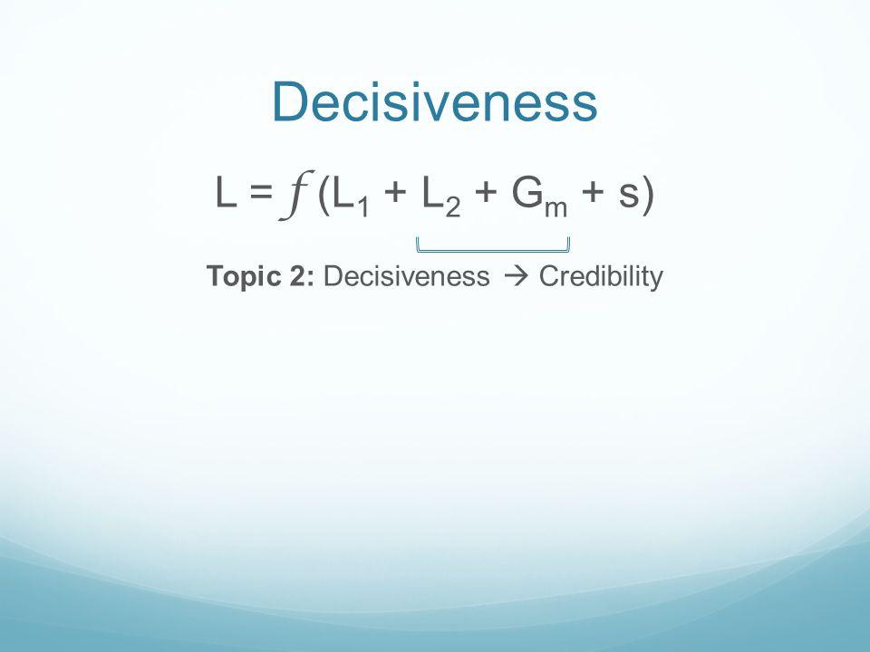 Decisiveness L = f (L 1 + L 2 + G m + s) Topic 2: Decisiveness Credibility