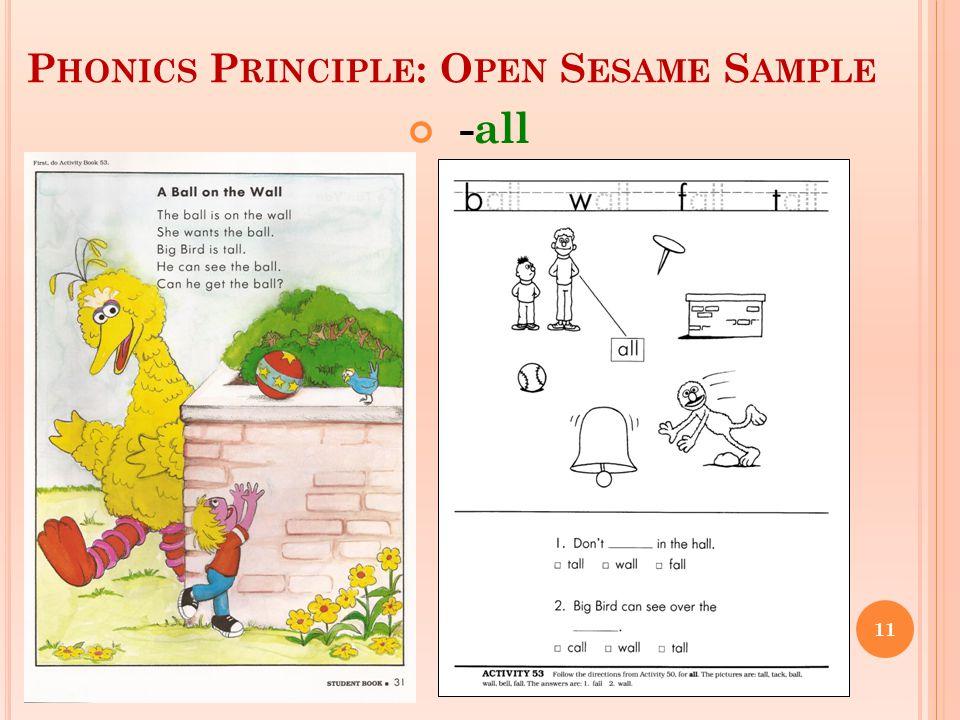 P HONICS P RINCIPLE : O PEN S ESAME S AMPLE -all 11