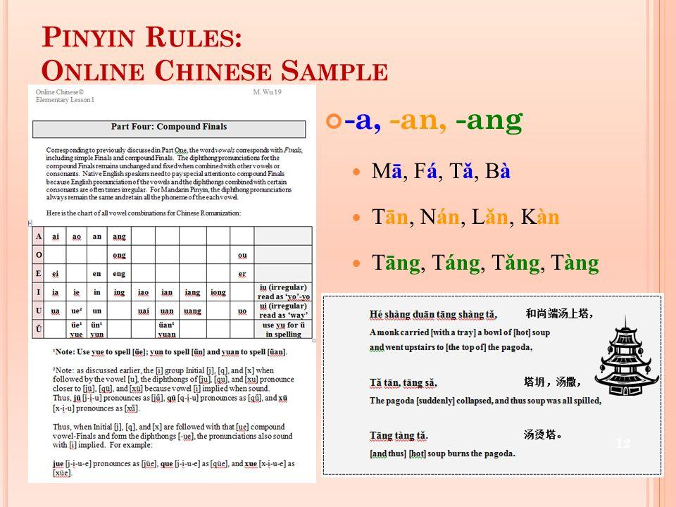 P INYIN R ULES : O NLINE C HINESE S AMPLE -a, -an, -ang Mā, Fá, Tǎ, Bà Tān, Nán, Lǎn, Kàn Tāng, Táng, Tǎng, Tàng 12