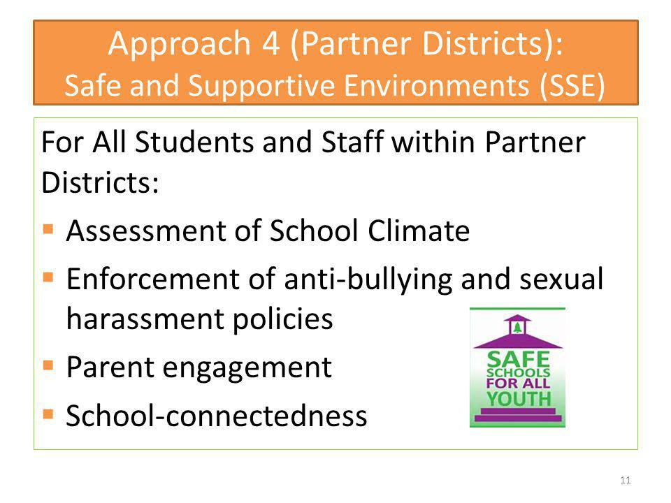 Approach 4 (Partner Districts): Safe and Supportive Environments (SSE) For All Students and Staff within Partner Districts: Assessment of School Climate Enforcement of anti-bullying and sexual harassment policies Parent engagement School-connectedness 11
