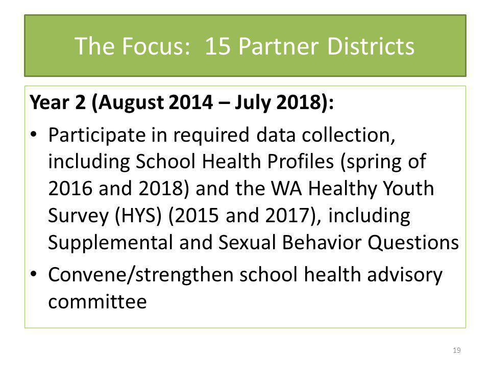 The Focus: 15 Partner Districts Year 2 (August 2014 – July 2018): Participate in required data collection, including School Health Profiles (spring of 2016 and 2018) and the WA Healthy Youth Survey (HYS) (2015 and 2017), including Supplemental and Sexual Behavior Questions Convene/strengthen school health advisory committee 19