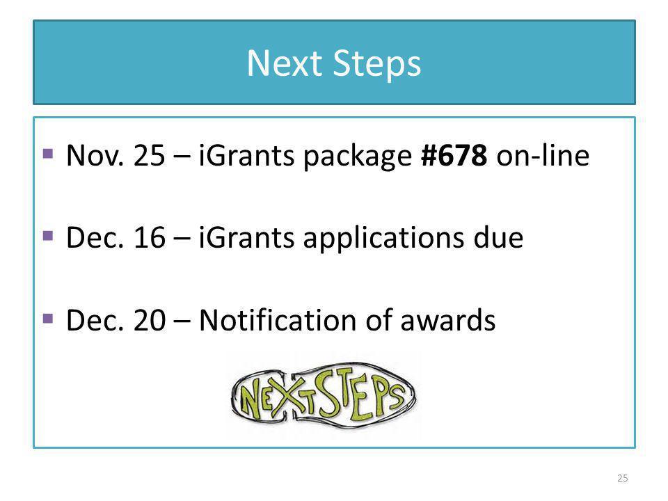 Next Steps Nov.25 – iGrants package #678 on-line Dec.