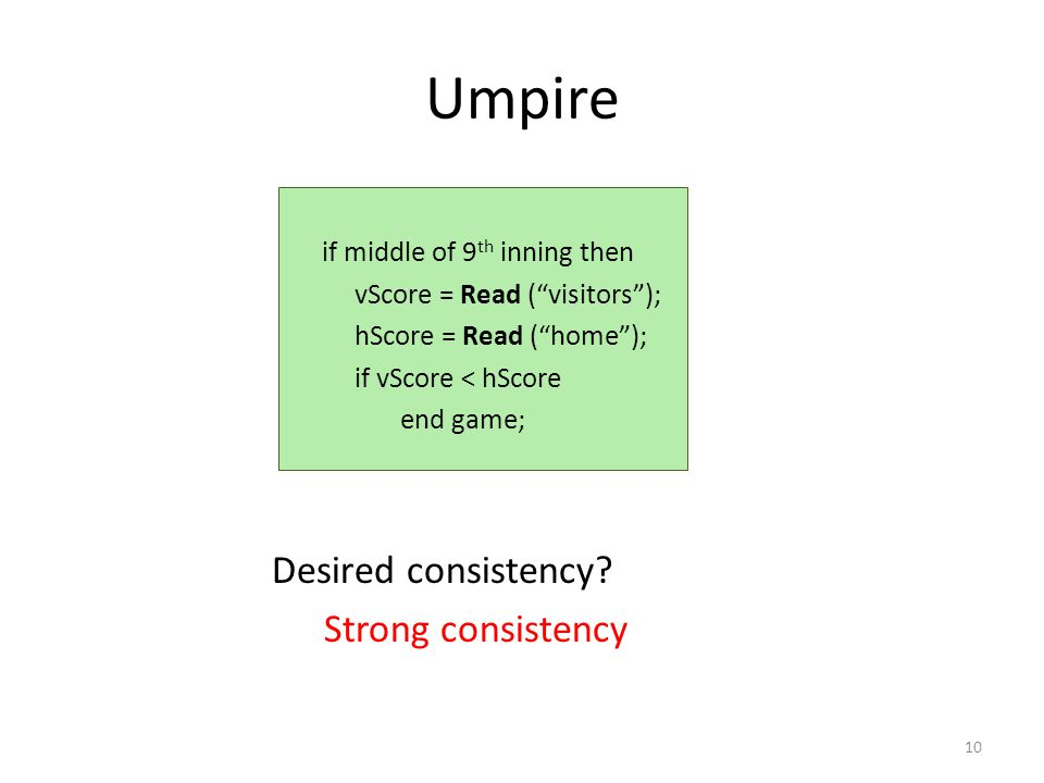 Umpire Desired consistency.