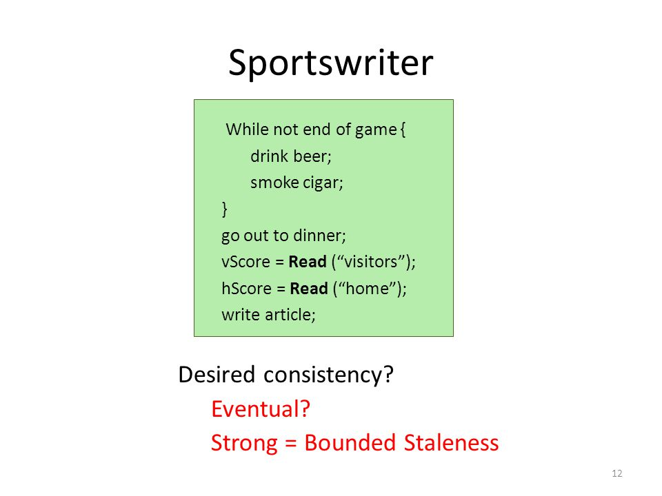 Sportswriter Desired consistency. Eventual.