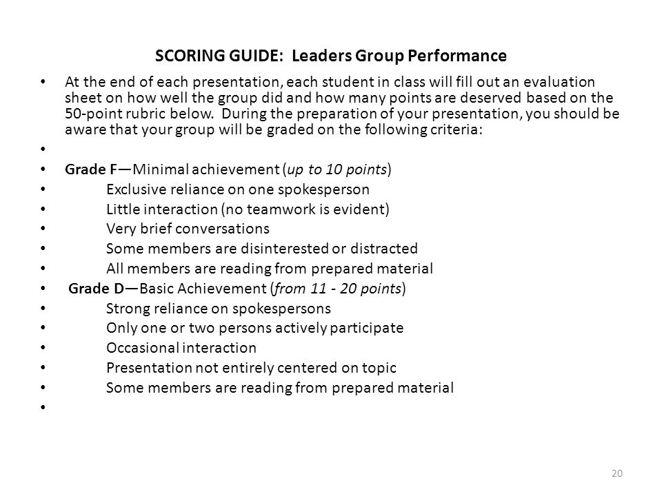 SCORING GUIDE: Leaders Group Performance At the end of each presentation, each student in class will fill out an evaluation sheet on how well the grou