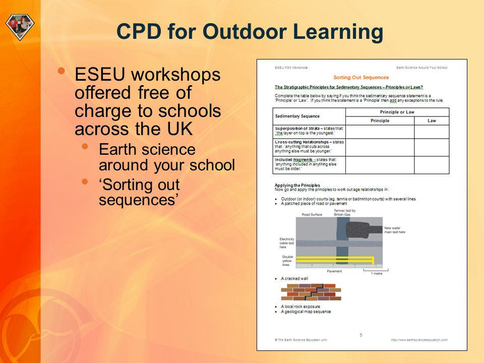 CPD for Outdoor Learning ESEU workshops offered free of charge to schools across the UK Earth science around your school Sorting out sequences