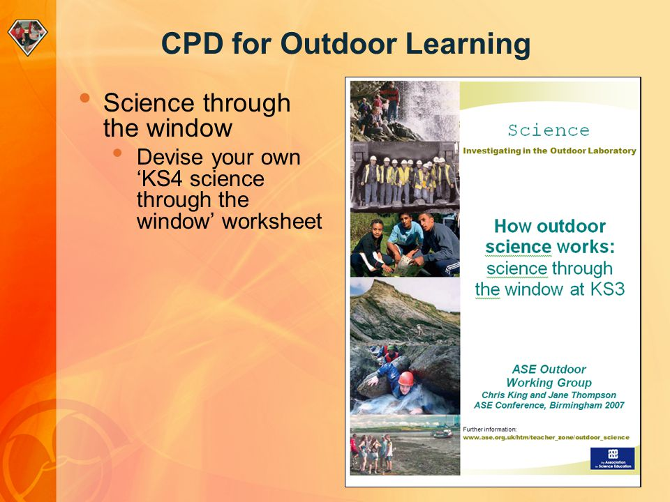 CPD for Outdoor Learning Science through the window Devise your own KS4 science through the window worksheet