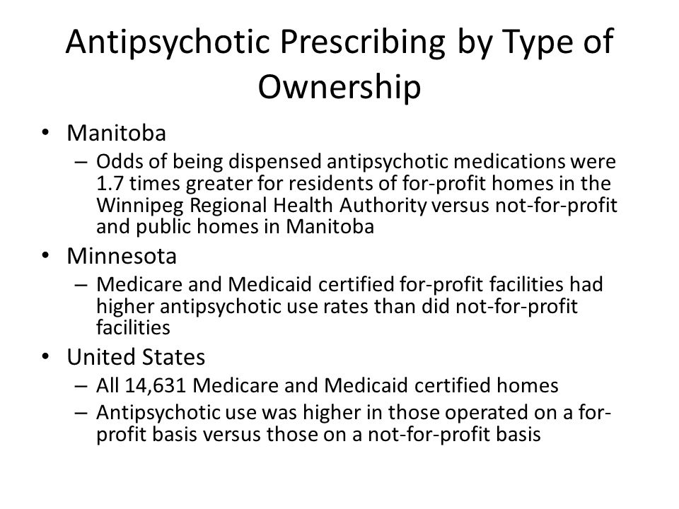 Antipsychotic Prescribing by Type of Ownership Manitoba – Odds of being dispensed antipsychotic medications were 1.7 times greater for residents of for-profit homes in the Winnipeg Regional Health Authority versus not-for-profit and public homes in Manitoba Minnesota – Medicare and Medicaid certified for-profit facilities had higher antipsychotic use rates than did not-for-profit facilities United States – All 14,631 Medicare and Medicaid certified homes – Antipsychotic use was higher in those operated on a for- profit basis versus those on a not-for-profit basis