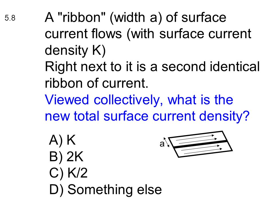 A ribbon (width a) of surface current flows (with surface current density K) Right next to it is a second identical ribbon of current.
