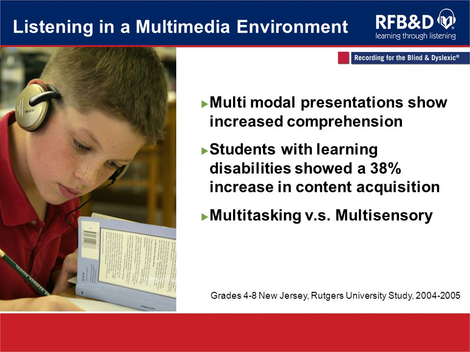 Listening in a Multimedia Environment Multi modal presentations show increased comprehension Students with learning disabilities showed a 38% increase in content acquisition Multitasking v.s.