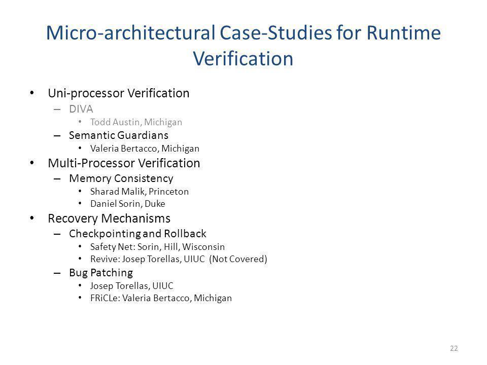 Micro-architectural Case-Studies for Runtime Verification Uni-processor Verification – DIVA Todd Austin, Michigan – Semantic Guardians Valeria Bertacc