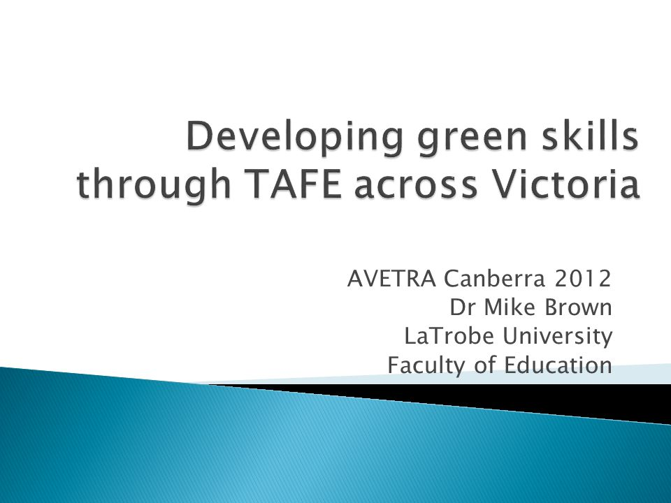 AVETRA Canberra 2012 Dr Mike Brown LaTrobe University Faculty of Education