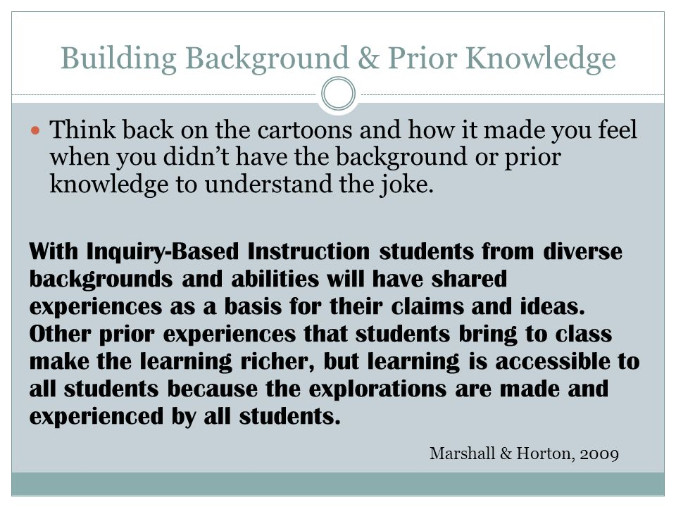 Building Background & Prior Knowledge Think back on the cartoons and how it made you feel when you didnt have the background or prior knowledge to und