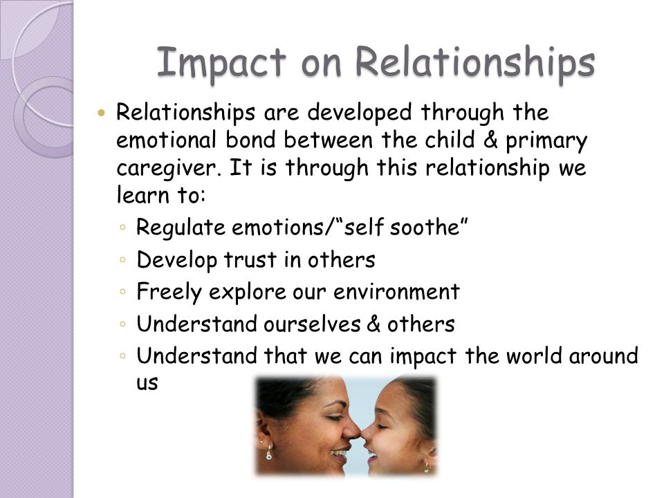 Impact on Relationships Relationships are developed through the emotional bond between the child & primary caregiver. It is through this relationship