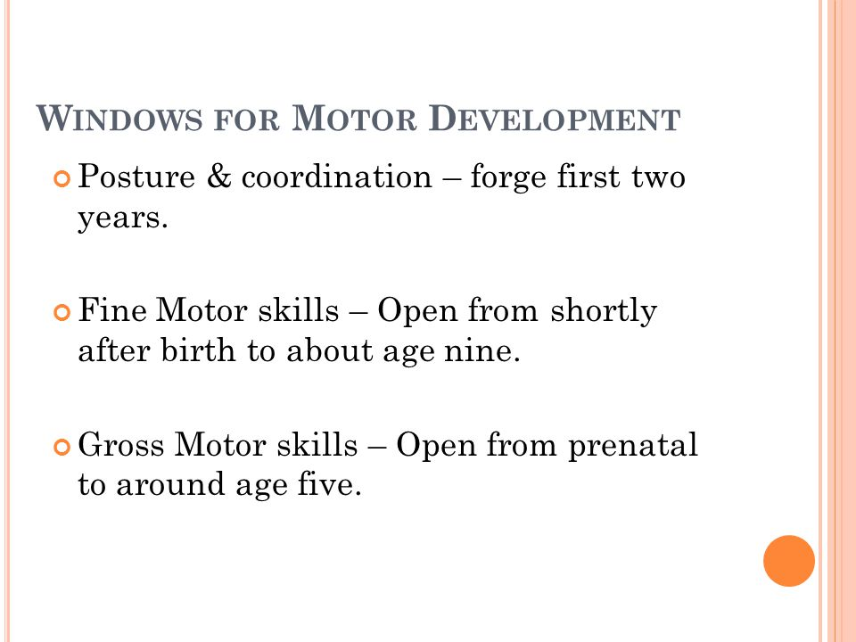W INDOWS FOR M OTOR D EVELOPMENT Posture & coordination – forge first two years. Fine Motor skills – Open from shortly after birth to about age nine.