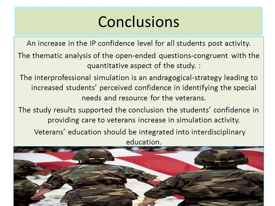 Conclusions An increase in the IP confidence level for all students post activity.