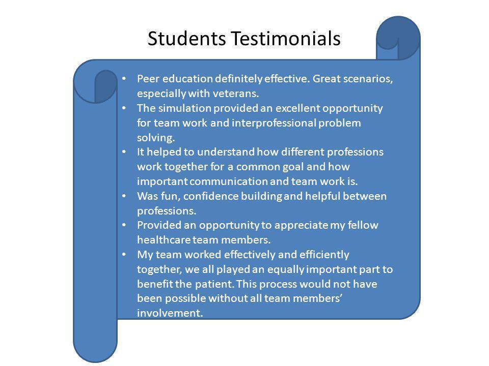 Students Testimonials Peer education definitely effective.