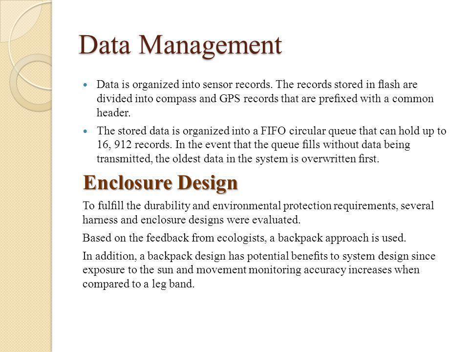 Data Management Data is organized into sensor records.